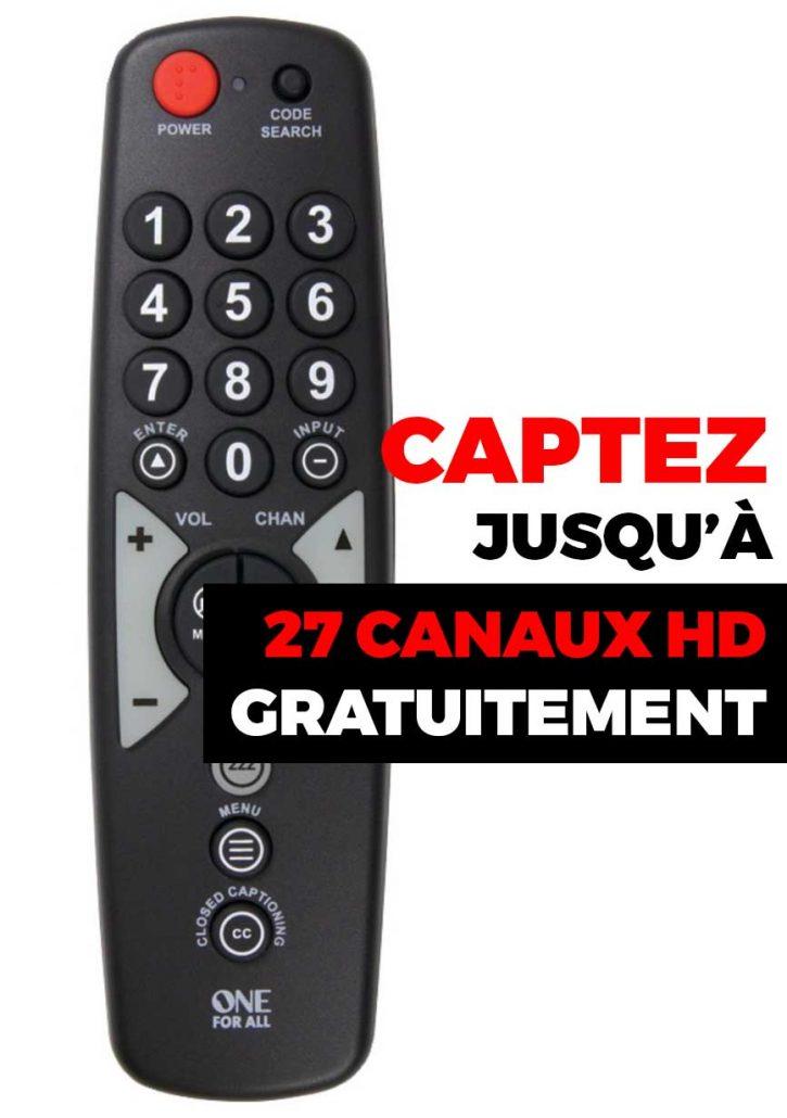 Captez jusqu'à 27 canaux HD GRATUITEMENT